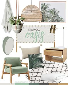 Tropical Decor 13829 Trend: Tropical Oasis — Adore Home Magazine Tropical Bedrooms, Tropical Home Decor, Tropical Interior, Tropical Houses, Tropical Furniture, Tropical Colors, Modern Tropical, Coastal Decor, Hawaiian Home Decor