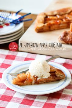 All-American Apple Crostata with Cheddar Crust #crackerbarrelcheese #ad #bh
