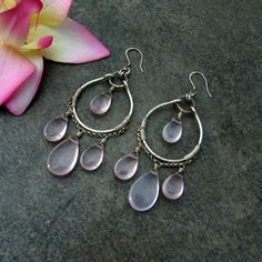 Rose Quartz Wire Wrapped Chandelier Earrings by TheGemGypsy, $79.99