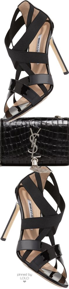 Manolo Blahnik Eletti Patent Crisscross Sandal and Saint Laurent Bag | LOLO❤