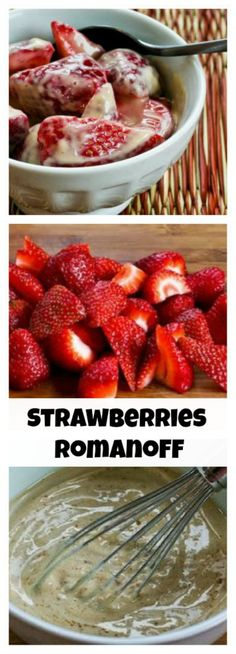 As soon as the stores have good strawberries, I start making this super-easy Strawberries Romanoff.  I use half granulated stevia and half brown sugar, but use all sweetener, all sugar, or whatever mix you prefer.  [from KalynsKitchen.com]