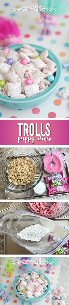 Sing, dance and hug while you make and eat this Trolls puppy chow! via Craft Cre… Sing, dance and hug while you make and eat this Trolls puppy chow! via Craft Create Cook Sing, dance and hug while you make and eat this Trolls puppy chow! via Craft Cre… Trolls Party, Trolls Birthday Party, 4th Birthday Parties, Birthday Fun, Birthday Ideas, Cake Birthday, Birthday Stuff, Birthday Recipes, Rainbow Birthday