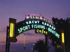 Photographic Print: Santa Monica Pier Neon Entrance Sign, Los Angeles, California, USA by Walter Bibikow : Santa Monica Pier, Santa Monica California, Los Angeles California, California Usa, Entrance Sign, State Farm, Sport Fishing, North America, Caribbean