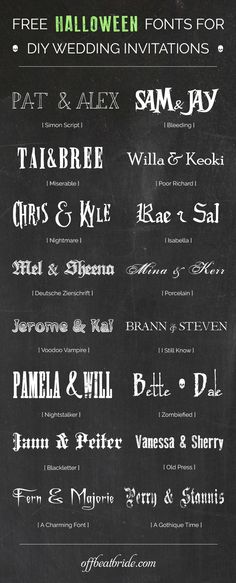 Free Halloween wedding invitation fonts from @offbeatbride