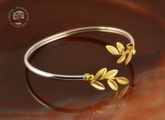 olive leaves silver golden bracelet, leaf bracelet, olive leaf bracelet, greek bracelet, sterling silver bracelet, greek jewelry, olive leaf by GreekGoddessJewelry on Etsy