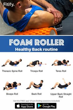 Foam Rolling session to massage and release your back muscles. Great cool-down after workout. Great prevention for Back Pain. Foam Roller Stretches, Roller Workout, Back Pain Exercises, Cool Down Exercises, Upper Back Stretches, Foam Rolling, After Workout, Dumbbell Workout, Massage Therapy