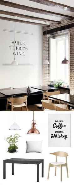 a fun little cafe! Loving the wall decal.