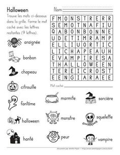 Mot caché, Halloween by Amelie Pepin Halloween Word Search, Bricolage Halloween, Halloween Words, Halloween And More, Halloween France, Halloween Vocabulary, Halloween Worksheets, Halloween Activities, Halloween