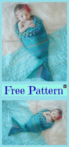 Beautiful Crochet Mermaid Cocoon – Free Pattern #freecrochetpatterns #cocoon #mermaidcocoon #babygift