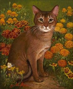 Sorrel Cat with Flowers by Yana Movchan presented by Lotton Gallery