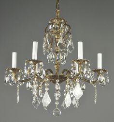 """Spanish Brass & Crystal Chandelier c1950 Vintage Antique French Style Ornate 24"""" x22"""" w"""