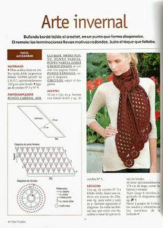 Kukicanje By Mirka 852 – Heklanje Crochet Scarf Diagram, Crochet Basket Pattern, Crochet Chart, Crochet Motif, Crochet Stitches, Free Crochet, Bonnet Crochet, Crochet Tunic, Crochet Scarves