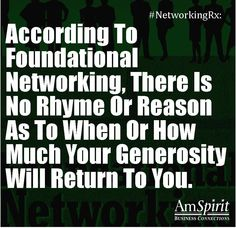 #NetworkingRx: When was the last time your good deeds came back to  you?