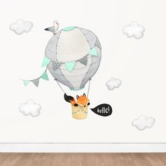Items similar to Grey and Mint Nursery Decal, Hot Air Balloon Fox Wall Decal Wall Stickers Playroom, Playroom Wall Decor, Nursery Wall Stickers, Mint Nursery, Nursery Art, Fox Nursery, Balloon Wall, Balloons, Air Balloon