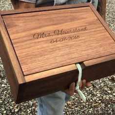 Heirloom walnut jewelry box, a gift for a new bride from her thoughtful groom.