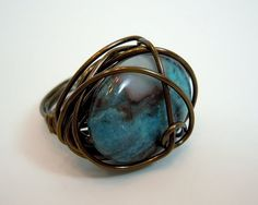 Wire Wrapped Stone Ring in Blue and Brown by Debbie by DebbieRenee, $11.20 Wire Wrapped Jewelry, Wire Jewelry, Jewelry Crafts, Handmade Jewelry, Diy Jewelry Inspiration, How To Make Rings, Ear Rings, Jewel Box, Window Shopping