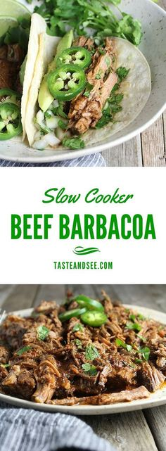 Slow Cooker Beef Barbacoa… chipotle peppers in adobo, beef stock, beer, tomato paste, brown sugar, garlic, cilantro, & Mexican spices. Smoky with a little spice and fall-apart tender! | Taste And See