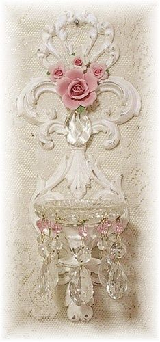 white, carving, floral, drippy crystals... perfect candle holder