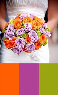 purple, orange, green--dream wedding colors!