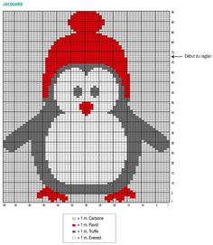 Tricot pour femme : un pull de Noël motif pingouin en jacquard - Knitting Charts, Baby Knitting Patterns, Knitting Stitches, Cross Stitch Charts, Cross Stitch Embroidery, Cross Stitch Patterns, Knitting For Kids, Knitting Projects, Beginner Knit Scarf