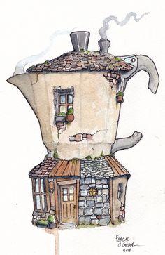 Coffee Illustration, Illustration Art, Coffee Painting, Coffee Drawing, Cafe Art, Art Sketchbook, Art Tutorials, Art Inspo, Fantasy Art