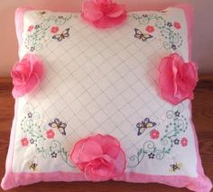 Antique Rose Cushion with 3D roses