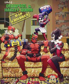 #Deadpool #Fan #Art. (what if.. Deadpool and Harley Quinn had kids?) By: M7781. [THANK U 4 PINNING!!]