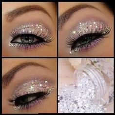Set 3 Iridescent White Glitter Cosmetic Eye Shadow Eyes Party Make up Crystals