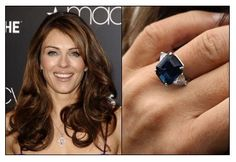 Elizabeth Hurley got engaged to Australian cricketeer Shane Warne, who proposed in St. Andrews, Scotland on September 30, 2011 with this $100,000 amazing square cut 9-carat sapphire with a trillion-cut diamond on each side. They are planning two weddings so that both families can be there. One in the U.K. and the other in his home country of Australia. As of December 17, 2013 the couple split and have called off their engagement.