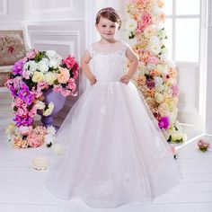 >> Click to Buy << Pink Flower Girl Dresses Ball Gown Sleeveless O-Neck Lace Up Solid Vestidos De Comunion Holy Communion Dresses Pageant Gowns #Affiliate