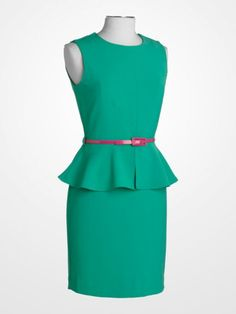 Steve Harvey Jade Green Peplum Belted Dress