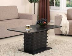 King's Brand T26-2 Wood Wave Design Cocktail Coffee Table in Black Finish