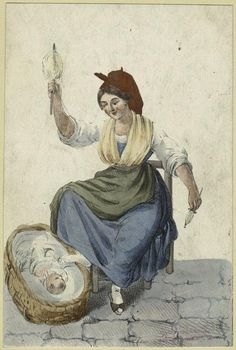 [Italian woman spinning and a baby in a basket.]