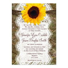 Camo and Lace Sunflower Wedding Invitations with camouflage on the back too.  #country #wedding #camo #sunflowers http://www.zazzle.com/camo_and_lace_sunflower_wedding_invitations-161524687257160156?CMPN=addthis=en=238133515809110851