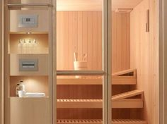 An in home sauna is not a bad idea. Bathroom Spa, Bathroom Toilets, Toilet Design, Bath Design, Home Steam Sauna, Modern Saunas, Indoor Sauna, Sauna Design, Sauna Room