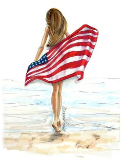 "Fashion Illustration print ""All American"",  dirty blonde hair, tan beach girl with flag By Emily Brickel"
