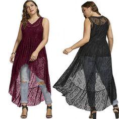TAGLIE FORTI XL-5XL senza maniche abito in pizzo donna alto basso abito 760d2d01e83