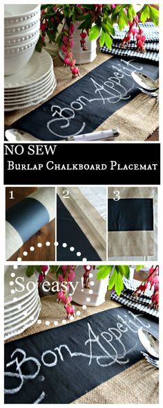 NO SEW BURLAP CHALKBOARD PLACEMAT- Measure, cut and use! That easy!