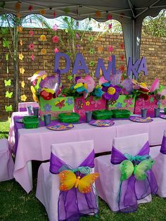 Butterfly Spring Fairy theme comes with a choice of linens, chair covers, flowers, butterflies and girl butterfly wings. Decor by Renisha Jackson and Lakiesha Daniels. Concept by Delane and Renisha Jackson