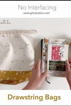 Drawstring Bag Diy, Drawstring Bag Pattern, Drawstring Bag Tutorials, Diy Bags Patterns, Patchwork Quilt Patterns, Diy Bags Purses, Fabric Wallet, Sewing For Beginners, Knitted Bags