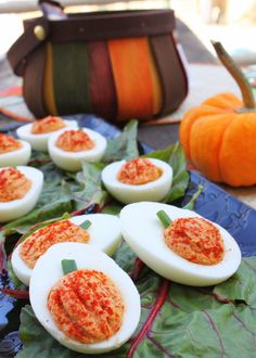 These Pumpkin Deviled Eggs are egg-ceptional.