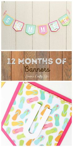 Tutorial June Summer Banner - 12 Months of Banners Free Summer, Summer Diy, Summer Crafts, Easy Crafts, Pendant Banner, Bunting Banner, Buntings, Summer Banner, Diy Craft Projects