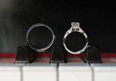 I love this ring picture with the piano keys. What a unique way to showcase them. Unique Wedding Photos | Wedding Ring Pictures