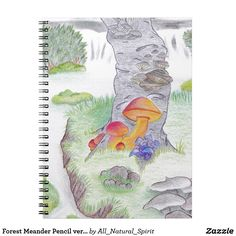 How about a Forest Meander? Write down all your inspirations and dreams in this fantasy landscape notebook. Customizable - even add your name! Make it Yours! See more @ https://www.zazzle.com/z/y1iao?rf=238562247198752459 #Zazzle #Fantasy #Notebook #Mushroom #Art #ColourPencilArt