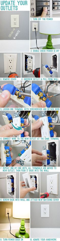 Detailed instructions on how to replace your electrical outlets and update with white ones