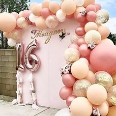 Gorgeous balloon set up for a sweet 16 party bash✨ #balloons #party #decor #sourceunknown #mintparties #balloonideas #balloonsurprise #balloondecorations #creation #sweet16 #luckygirl #16 #wow #fashion #follow #kidsparty #partiesforgirls #partieplanner #inspo #inspirational #balloon #delicious #backdrop #bar #candybar #dessertbar #18