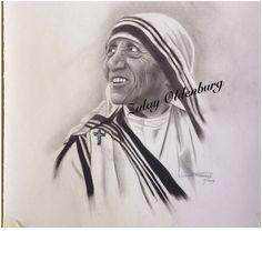 Dibujo rostro en Carboncillo. Madre Teresa de Calcuta