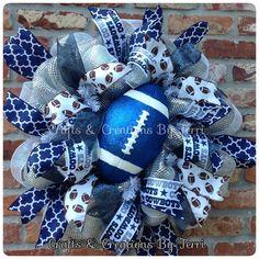 Dallas Cowboys football wreath. Follow Created By Terri/Crafts & Creations By Terri www.facebook.com/CraftsandCreationsByTerri  www.etsy.com/shop/CreatedByTerri Instagram @ CreatedByTerri  Twitter @ designsbyterri #craftsandcreationsbyterri #createdbyterri #etsy #doorwreaths