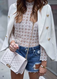 white lace top with a pair of distressed shorts and a military blazer Nyc Fashion, Minimal Fashion, Latest Fashion Trends, Fashion Outfits, Womens Fashion, Blazer Fashion, Fashion 2016, Style Casual, Casual Outfits