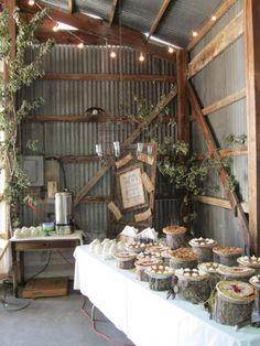 Wedding dessert table pie display. dessert tables, farm wedding, buffet, tree stumps, wedding ideas, barn weddings, rustic weddings, wedding cakes, pie